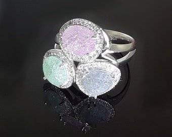 Sterling Silver Ring with 3 Colored Diamonique  and smaller Clear Diamonique stones
