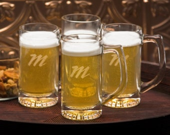 Personalized Tavern Mug Set - Personalized Beer Mugs - Beer Mug - Initialed Beer Mugs - Father's Day Gifts - Personalized Gifts - Glass Mugs