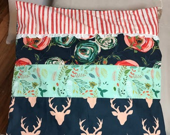 Antlers and flowers throw pillow cover.