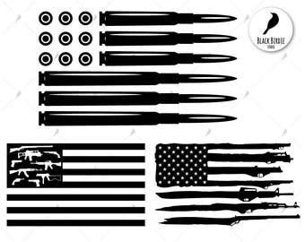 Bullet flag svg, gun flag svg, gun flag clipart, gun svg, bullet svg, american cricut silhouette – eps, dxf, png, pdf, svg – digital files