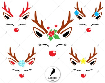 Reindeer face svg, reindeer face clipart, reindeer svg file, reindeer clipart, cricut christmas silhouette – eps dxf png pdf svg – digital