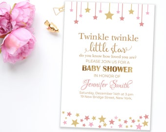 Twinkle Twinkle Little Star baby shower invitation | Pink and gold shower invite | Girl baby shower gold stars | Personalized shower invite