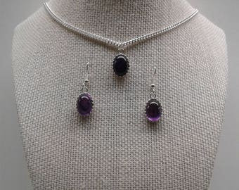 14 X 10 MM High Dome Amethyst Necklace Earring Set AM-1
