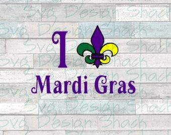 I Love Mardi Gras SVG, DXF, EPS, Studio 3, Png