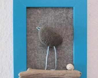 Pebble bird - Turquoise home decor - Birdlover - Nursery - Beach Art - Beachy - Coastal - Eco - Art - Nature - Natural - Giftidea - Ocean