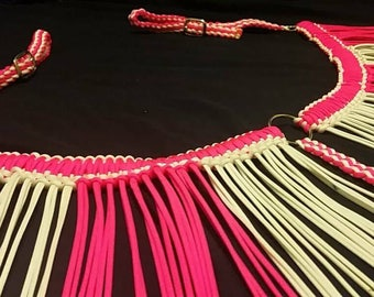 Pink and White Fringe Breast Collar