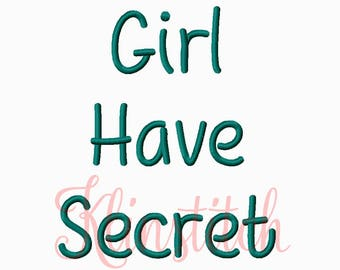 50% Sale!! Girl Have Secret Embroidery Fonts 3 Sizes Fonts BX Fonts Embroidery Designs PES Fonts Alphabets - Instant Download
