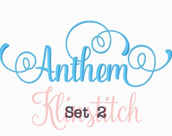 50% Sale!! Set 2 Anthem Embroidery Fonts 5 Sizes Fonts BX Fonts Embroidery Designs PES Fonts Alphabets - Instant Download