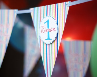 Personalised Birthday Party bunting - 1st Birthday Bunting - Stripy  Banner - Kid's Bunting - Children's party bunting - Quality - Handmade