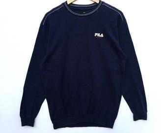 Fila Sweatshirt navy blue colour Big Logo Embroidery Sweat Medium Size Jumper Pullover Jacket Sweater Shirt Vintage 90's
