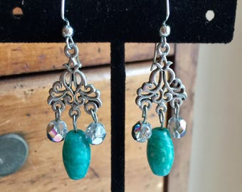 Russian amazonite and crystal earrings