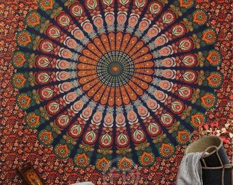 Boho Queen Size Mandala Tapestry - Burnt Orange Peacock