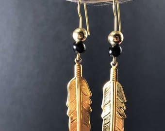 Gold mid century gold leaf dangle earrings