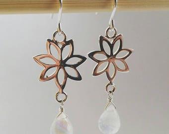 925 Sterling Silver Flower Detail and Rainbow Moonstone Briolette Drop Earrings - Shimmering, Elegant, Bridal Sparkle
