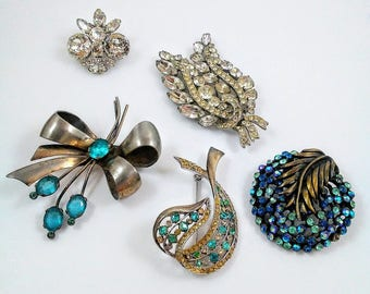 Rhinestone Brooch and Pin Lot Signed and Sterling Costume Jewelry