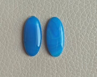 Blue Natural Botswana Agate Matching Pair Gemstone, 19 Carat Designer Cabochon Gemstone, Beautiful Jewelry Pair Earring Gemstones.