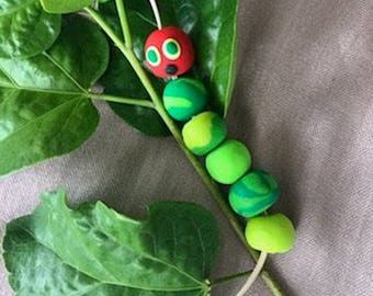 The Very Hungry Caterpillar Handmade Polymer Clay Lanyard.  Perfect for Teachers and lovers of book.