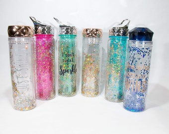 Custom Monogram Glitter Water Bottle