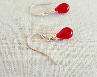 Red Earrings - Red Glass Earrings - Red Dangle Earrings -  Red Drop Earrings - Sterling Silver Earrings - Handmade Wire Wrapped Earrings