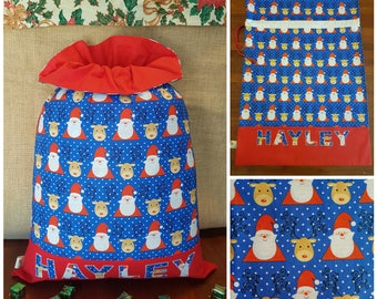 Personalised Large Handmade Santa Sack with Frill - Santa & Rudolph with Red Frill/Base