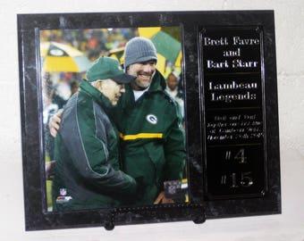 Brett Favre and Bart Starr Green Bay Packers Plaque