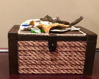 Repurposed Cigar Box Treasure Chest Trinket Box