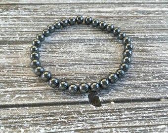 Grounding Hematite Mala Bracelet Healing Crystals Yoga Meditation 6mm Stretch Bracelet
