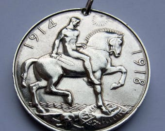 World War I Service Medal 1918 - sterling silver - made into a pendant - 29.1 grams