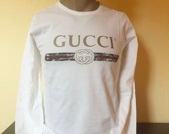 gucci inspired t shirt. inspired luxury gucci vintage logo style mens t shirt long sleeve, color ivory