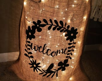 Welcome Lighted Burlap Bag