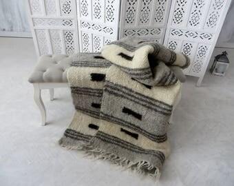 wool blanket striped throw white grey throw blanket sofa throw home decor hand woven throw