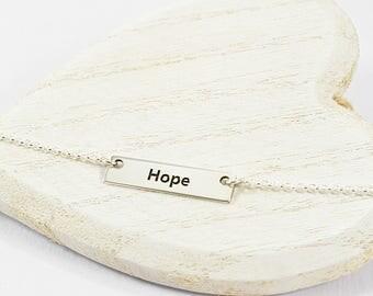 Affirmation Necklace, Hope Inspirational Bar Necklace, Inspiration Necklace Sterling Silver, Mantra Necklace, Inspirational Jewelry