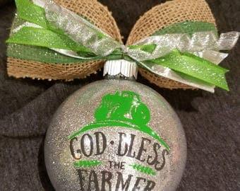 Christmas Ornament- God Bless Farmer