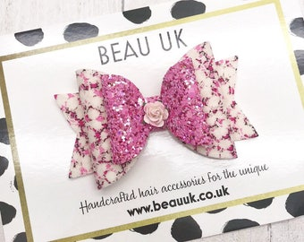 Pink Made with Liberty london fabric & glitter Medium Dolly hair bow clip headband