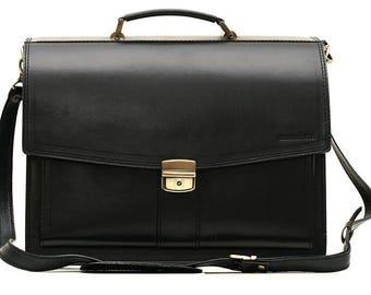 Black Leather Briefcase Leather Laptop Bag Leather Business Bag  Crossbody Bag Real Leather Bag Leather Cabin Bag Leather Messenger Bag