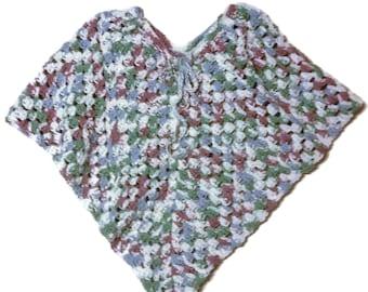 "Girls Crochet Poncho, plus Poncho for 18"" Doll, Handmade, Cotton, American Girl Poncho, Girls 6-8 Cotton Poncho"