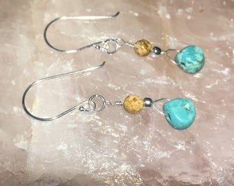 Turquoise dyed Howlite and picture jasper sterling silver earrings