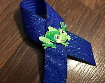 """Diabetes Awareness Frog Ribbon - 4"""" with 3D frog embellishment T1D Type 1"""