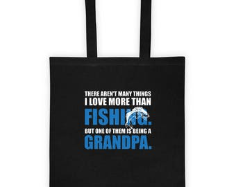 Love Fishing Love Being a Grandpa Tote Bag Gift for Grandfather Fisherman Father's Day Present, Love to Fish