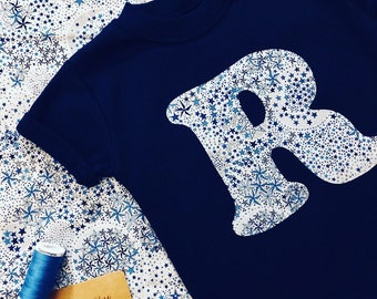 Liberty Initial T Shirt, Children's Personalised, Liberty Print Appliqué Tee in White, Navy, Grey, Pink, Blue, Baby Girl Clothes, Baby Gift