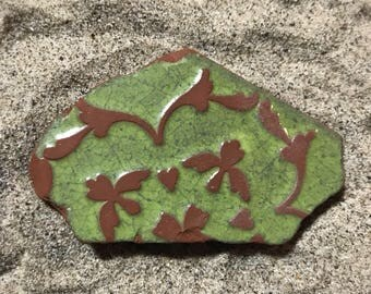Green Beach Pottery Tile Piece * Floral Glazed Sea Pottery Shard * Sea Washed Shard * Italian Pottery * Beach Finds * Large Mosaic Shard