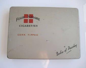 Dobies Four Square Cork Tipped cigarettes tin (50/empty) c.1940