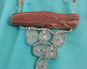 Seaglass Driftwood Necklace (134)