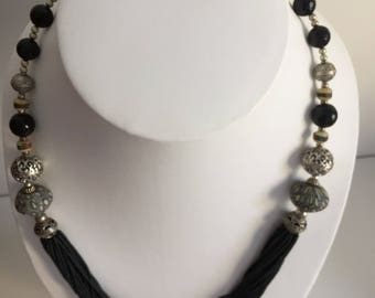Multi  chained black beads necklace