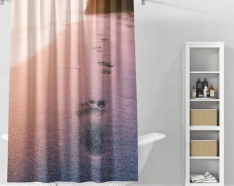 Footprints In The Sand Shower Curtain | Nature Bathroom Decor | Summer |  Beach Bath Curtain