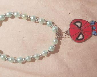 New kids 6mm Pearls Beads stretch bracelet with Spidgeman charm