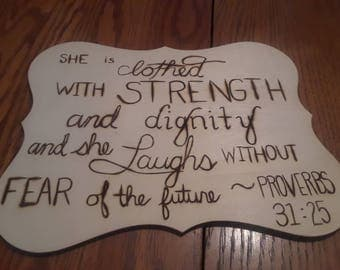 Hand-made wood burned scripture wall decor!
