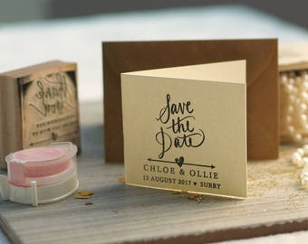 Save The Date Stamp with Arrow And Heart design, Wedding Stamp