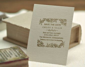 Save The Date  Custom Rubber Stamp Personalised Lace Design, Wedding Stamp
