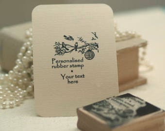 Personalised 'my own text' birds design rubber stamp ideal for Wedding Favours